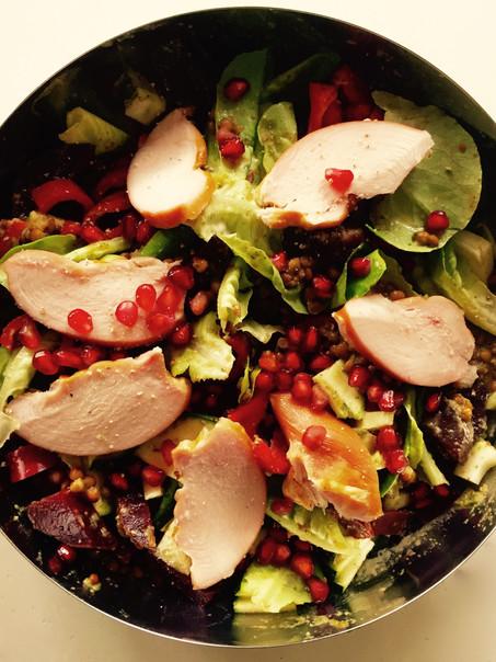 Linzen gerookte kip salade