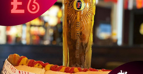 Live match offer - HOT DOG & PINT for just £6!