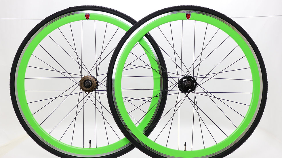 Goku -Green Single Speed wheels Fixed Bike Wheel Set 700c 40mm Flip Flo