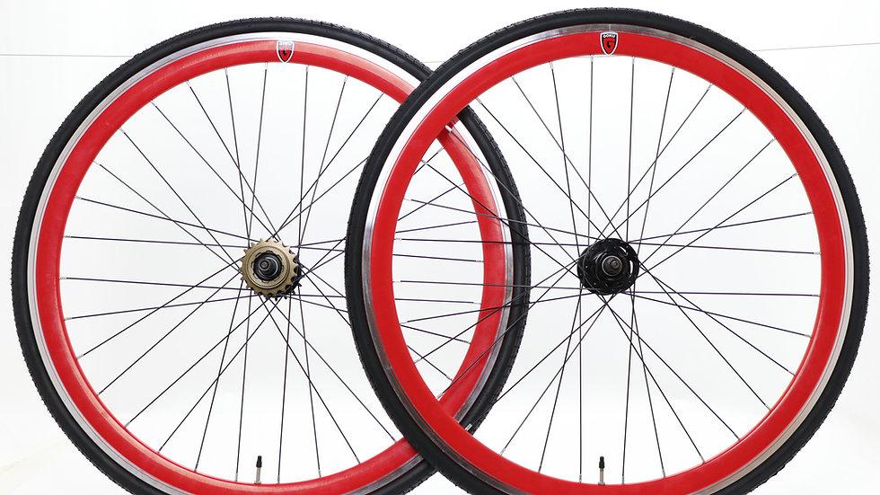 Goku - Red Single Speed wheels Fixed Bike Wheel Set 700c 40mm Flip Flop