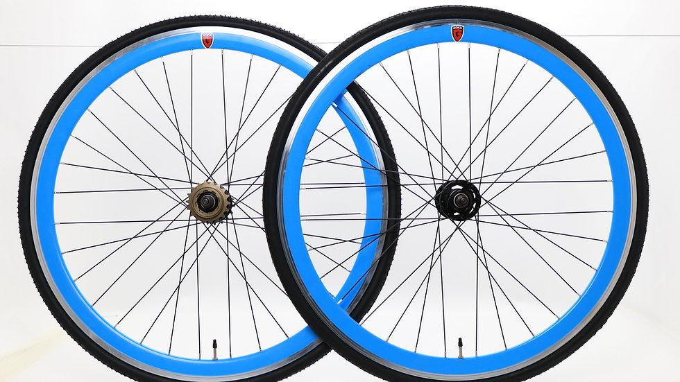 Goku -Blue Single Speed wheels Fixed Bike Wheel Set 700c 40mm Flip Flop
