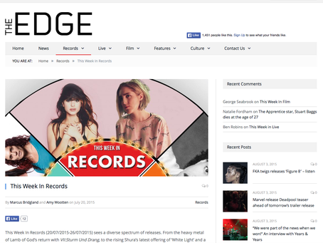 Featured in the EDGE music coverage for the week