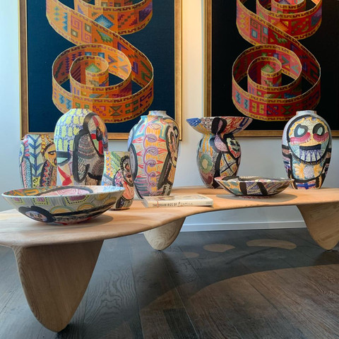 Anthropoids Vases by Gur Inbar Volcano Coffee TAble by Gal Gaon Peruvian Tapestry