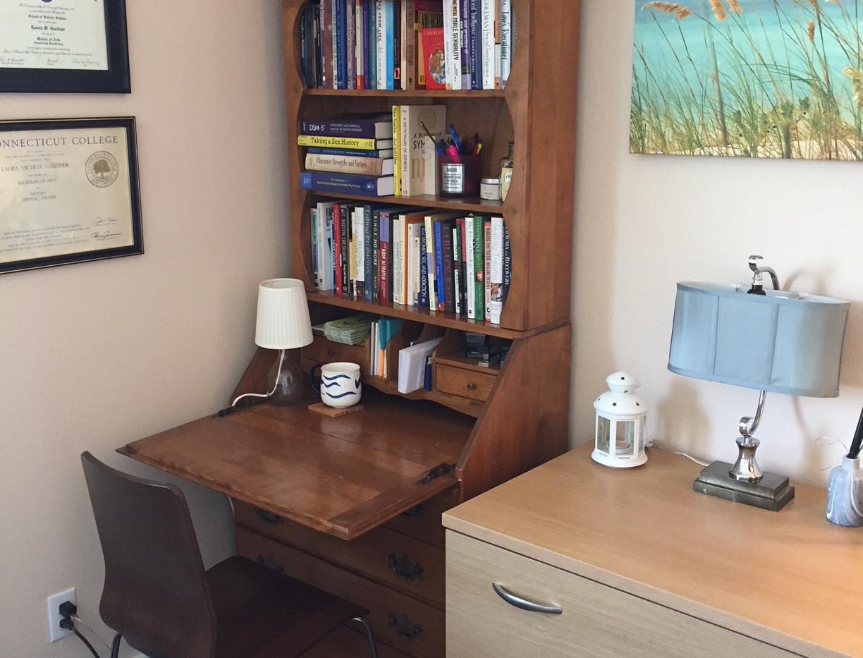 Desk and file cabinet