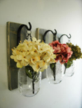 Bell jar vases with wall hooks and flowers - farmhouse decor