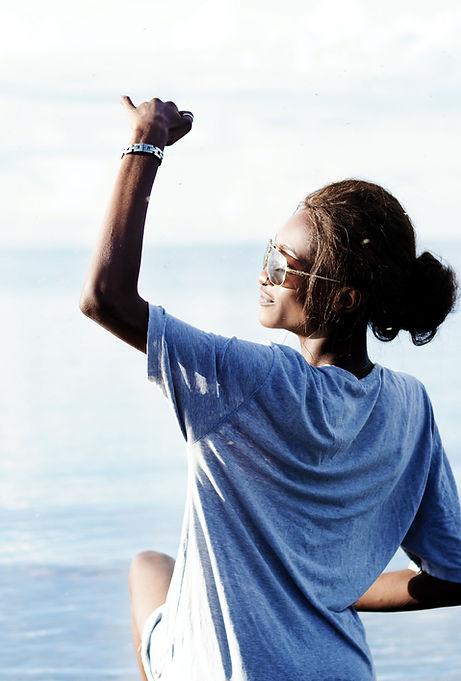 Black female looking towards the horizon