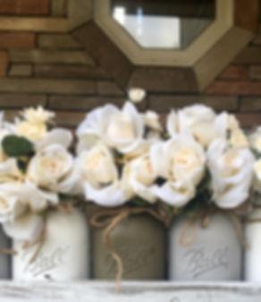 White roses in bell jars - farmhouse decor