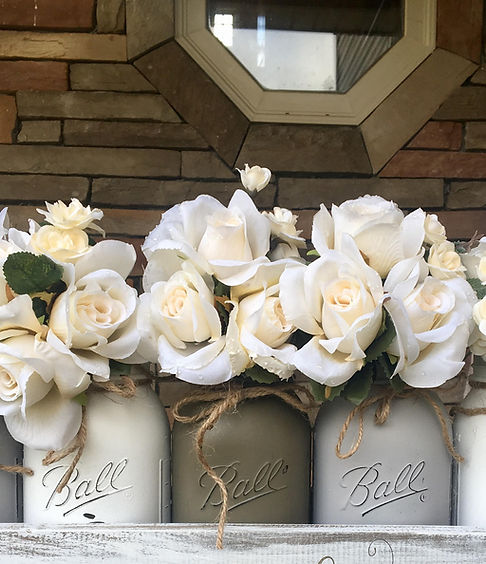 White roses in bell jars - farmhouse decor
