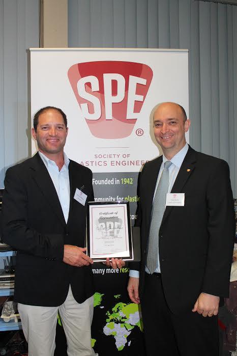 Speaker Dion Grobbelaar from Bega Cheese with SPE: A-NZ President Craig Benson