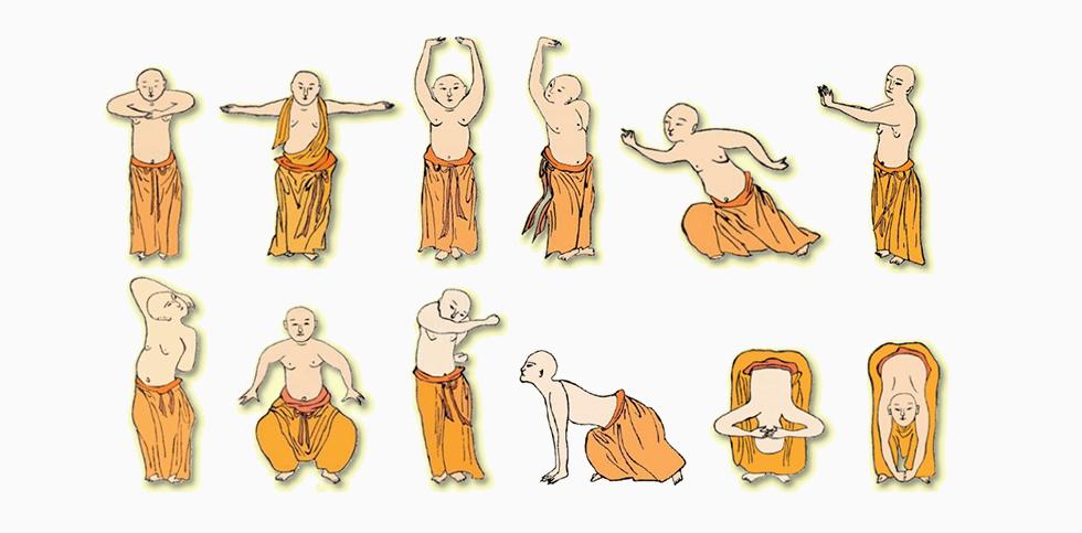 Yi Jin Jing beruht auf den 12 traditionellen Übungen des Yi Jin Jing und beinhaltet auch dieselben Bezeichnungen und Schwerpunkte der ursprünglichen Übungen.