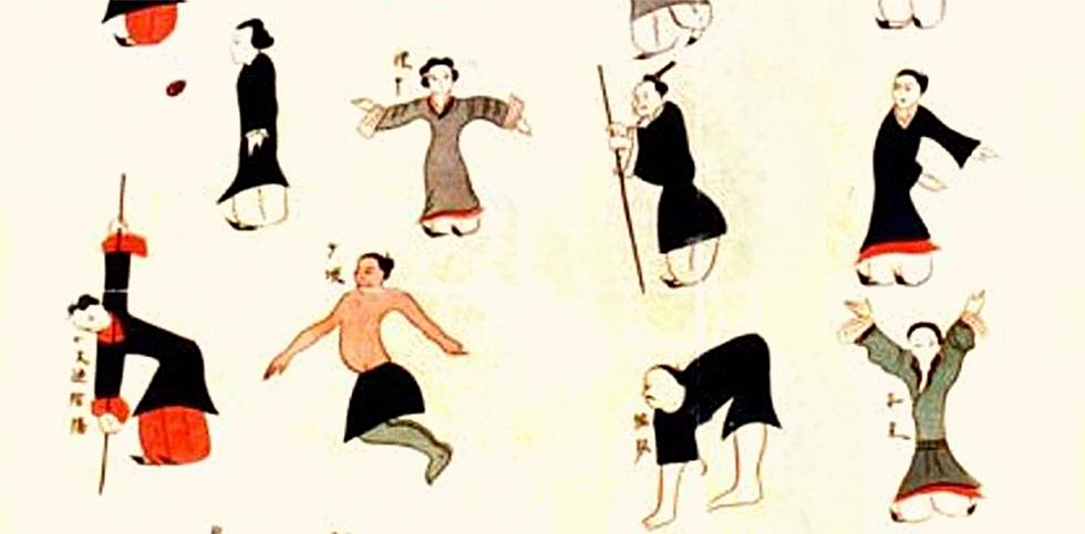 """Die frühesten bekannten historischen Aufzeichnungen fand man auf dem """"Daoyin-Schaubild"""" (Daoyin sind Bewegungsübungen mit bewusster Atmung, Vorstellung und selbstmassage)."""