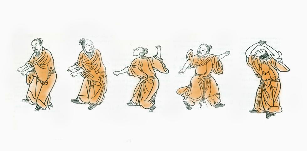 Hua Tuos Inspiration zur Entwicklung des Spiels der fünf Tiere Wu Qin Xi entstand aus eingehenden Beobachtungen des charakteristischen Verhaltens und der Aktivitäten von Tigern, Hirschen, Bären, Affen und Vögeln.