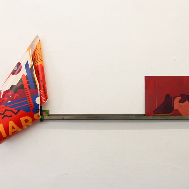 Installation view of Tinned Peaches. Paintings both oil on aluminium with collage relief element on bespoke steel shelf