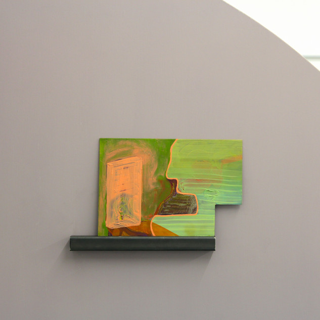 Installation view of Tinned Peaches. Oil on steel resting on steel ledge, attached to bespoke wall
