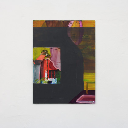 Untitled, oil and collage on aluminium, approx 32x24cm