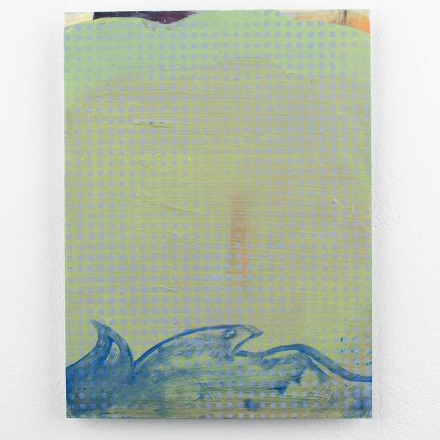 Sea Veil, oil and spray paint on aluminium, 20x15cm
