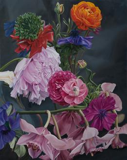 Serie Flores · Óleo sobre tela · 50 x 40 cm · 2016