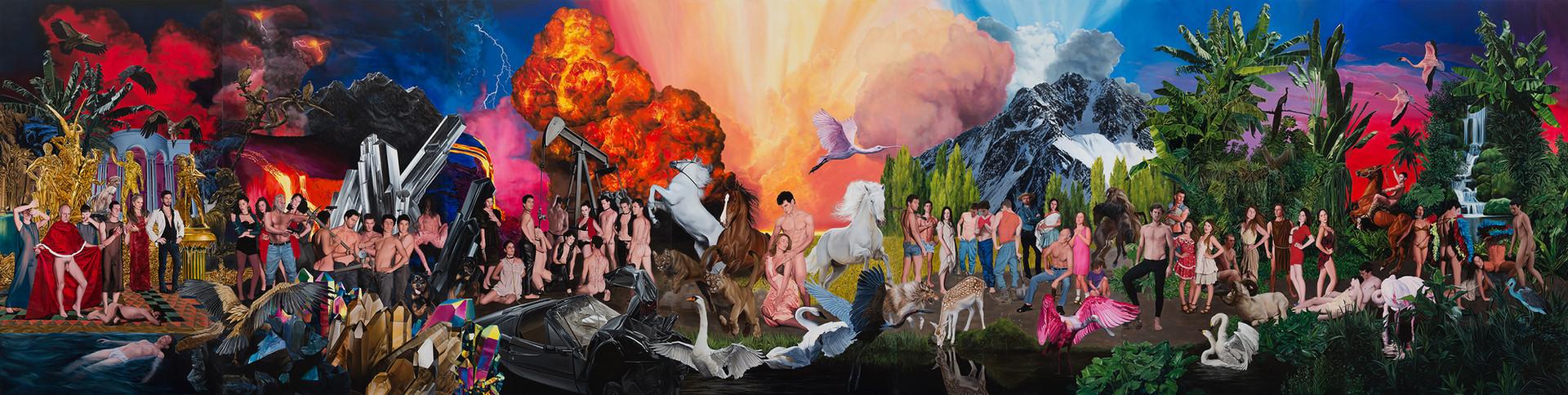 Historia violenta y luminosa · Óleo sobre tela · 300 x 1190 cm · 2016