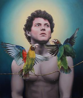 P y los pájaros · Óleo sobre tela · 60 x 50 cm · 2013