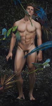 Eyal rodeado de loros y guacamayos · Óleo sobre tela · 200 x 100 cm · 2015