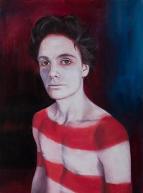 Lucas as selk'nam twink · Oil on canvas · 40 x 30 cm · 2018