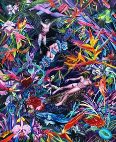 Rito chamánico · Óleo sobre tela · 100 x 80 cm · 2020