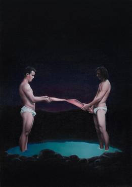 Pedro and Damián · Oil on canvas · 70 x 50 cm · 2013
