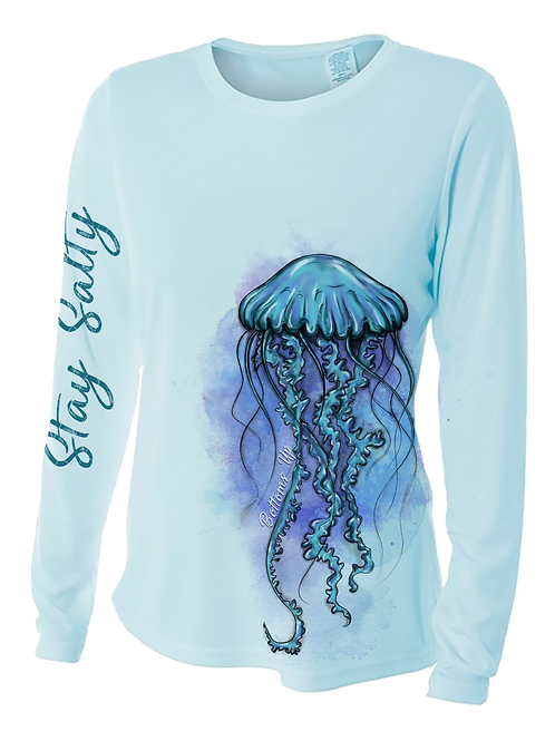 JELLYFISH WATERCOLOR-PERFORMANCE LONG SLEEVE