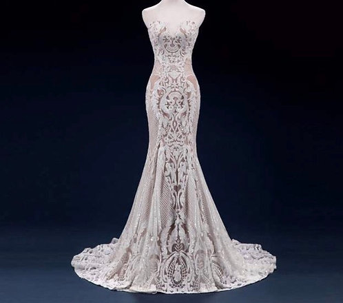 Custom Ivory Sequinned Lace Gown Size 8-10