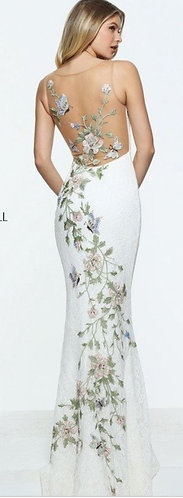 Sherri Hill 51026 Ivory and Floral Size 8
