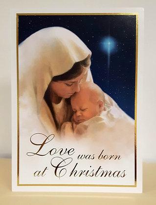 Christmas Greeting Card - Love was born at Christmas