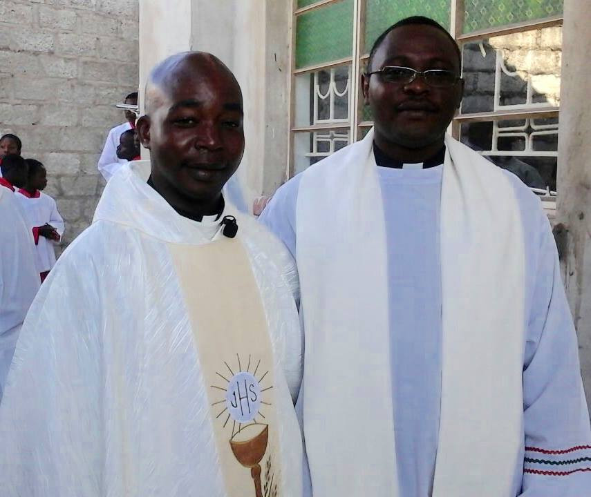 Pictured at his First Mass yesterday, Fr William Banda and Fr Emmanuel Sunkutu.