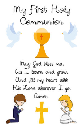 Communion Prayer Keepsake