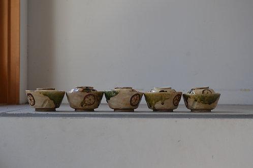 京焼 織部手 蓋茶碗 5客