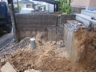 門柱、階段の壊し