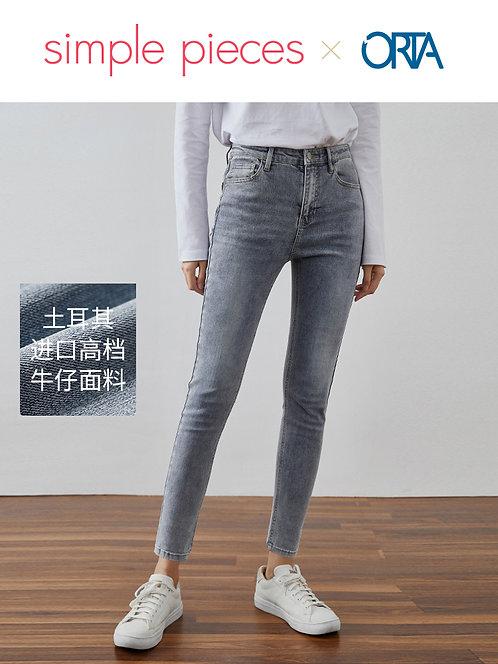土耳其ORTA紧身水洗蓝色高腰牛仔裤