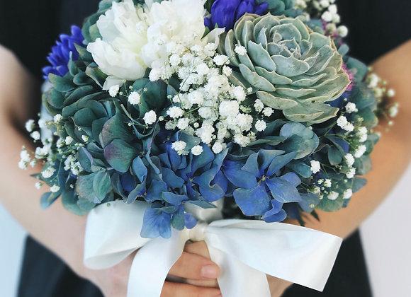 Succulent Fresh Flower Bouquet - Round