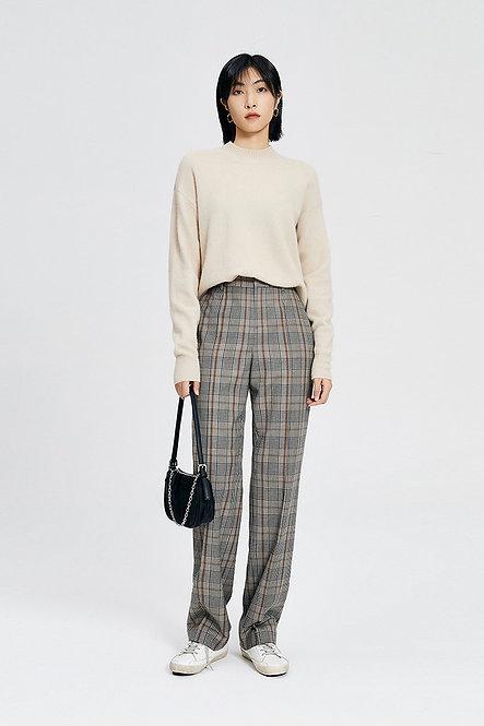 羊毛格紋寬鬆拖地褲