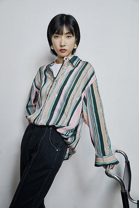 條紋印花寬鬆長袖襯衫