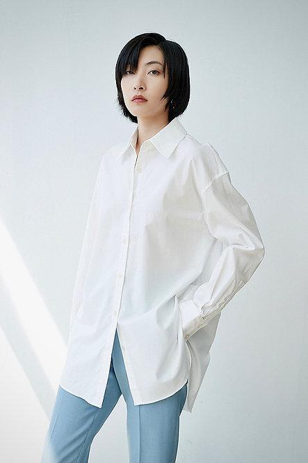 Oversize帅气落肩中长款纯色衬衫