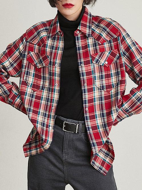 法兰绒内搭宽松格纹长袖复古港味衬衣