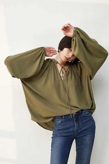 復古V領綁帶襯衫
