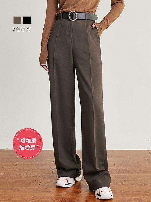 高腰复古宽松拖地长裤