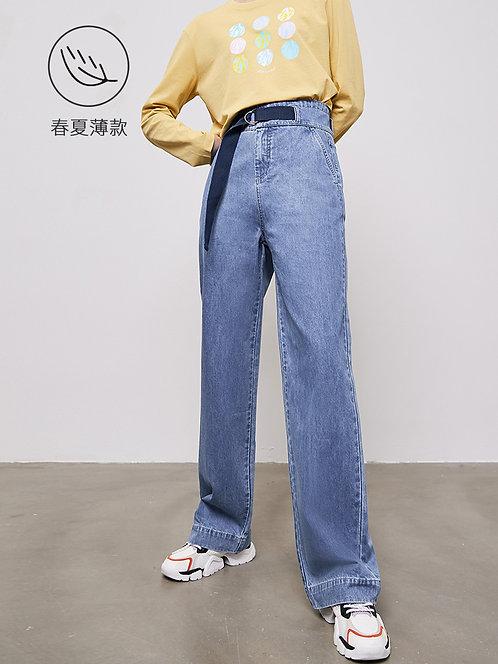 高腰裤系带拖地阔腿牛仔裤