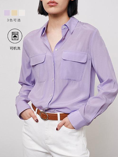 复古宽松透感长袖衬衫