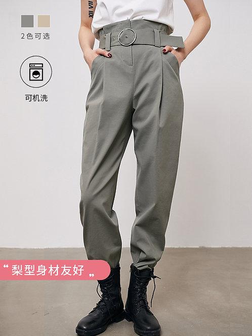 高腰复古纸袋甜筒裤