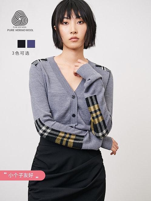 针织修身长袖薄V领外套