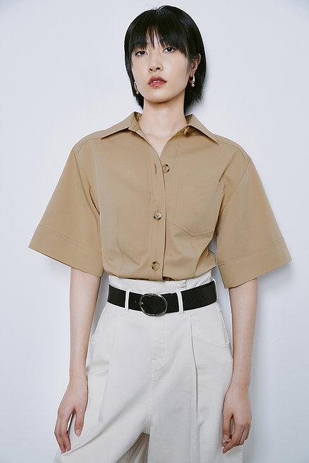 修腰廓形襯衫