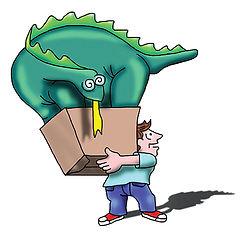 LOCK IT UP Self Storage Logo | Dino and Man