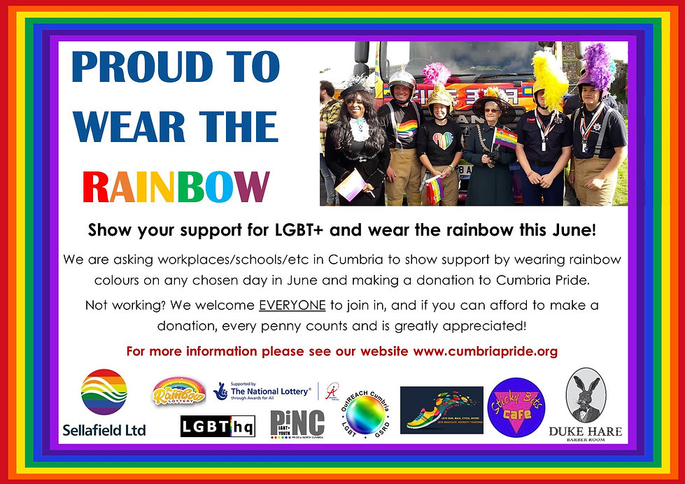 Wear the rainbow for Cumbria Pride - Jun